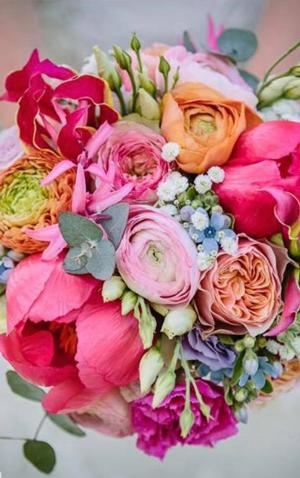 bruidsboeket roze oranje