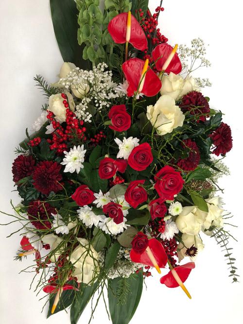 rouwbloemstuk rood wit